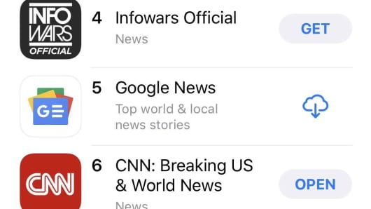 The InfoWars iPhone app rose in the Apple App Store rankings after Big Tech platforms banned its content.