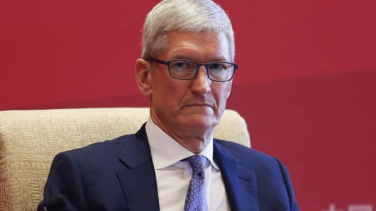 Apple Inc. CEO Tim Cook attends China Development Forum (CDF) 2018 at the Diaoyutai State Guesthouse on March 24, 2018 in Beijing, China. China Development Forum (CDF) 2018 is hosted by the Development Research Center of the State Council of China on March 24-26 in Beijing.