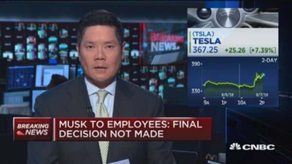 Musk to employers: I think going private is best path, final decision not made