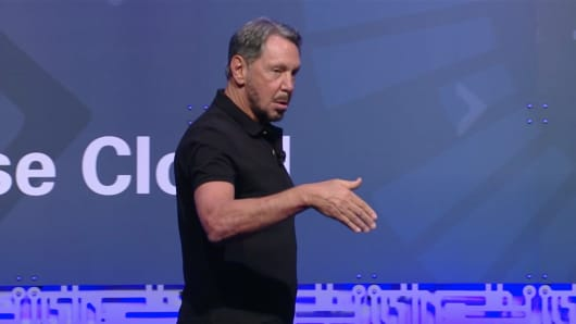 Oracle chief technology officer Larry Ellison speaks at a company event in Redwood Shores, Calif., on Aug. 7, 2018.