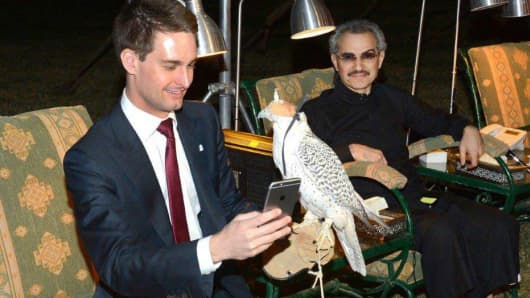 Evan Spiegel, CEO of Snap and Prince Al-Waleed bin Talal