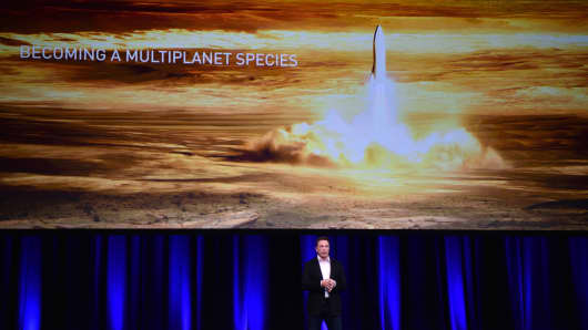 Millionaire entrepreneur and SpaceX founder Elon Musk speaks at the 68th International Astronautical Congress 2017 in Adelaide on 29 September 2017.