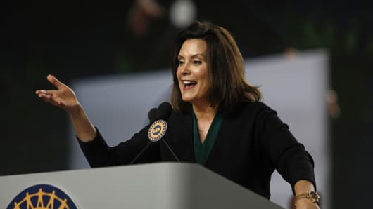 Michigan Democrat Gubernatorial candidate Gretchen Whitmer addresses the 37th United Auto Workers Constitutional Convention June14, 2018 at Cobo Center in Detroit, Michigan.