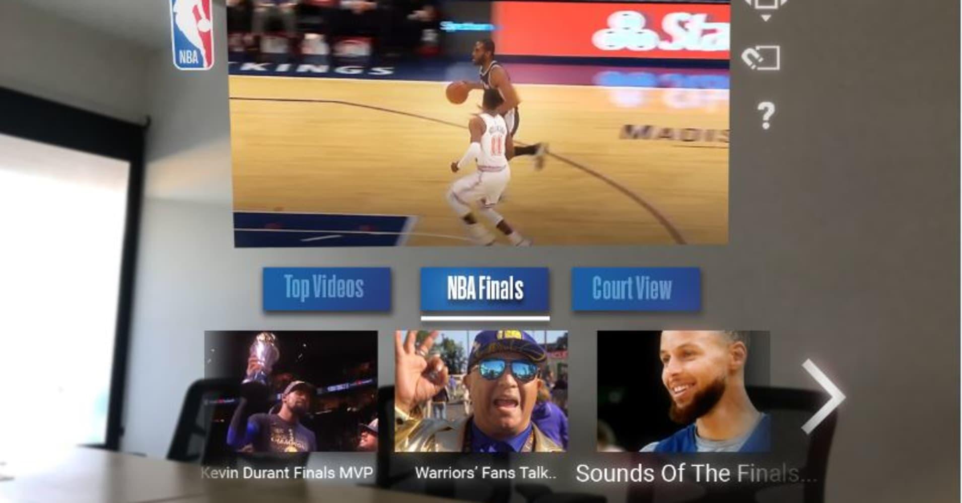 The NBA beta app running on Magic Leap