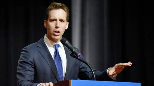 Missouri Attorney General Josh Hawley makes his acceptance speech on Nov. 9, 2016, in Springfield, Mo. On Tuesday, Aug. 7, 2018, he secured the Republican nomination to take on Democratic Sen. Claire McCaskill in November.