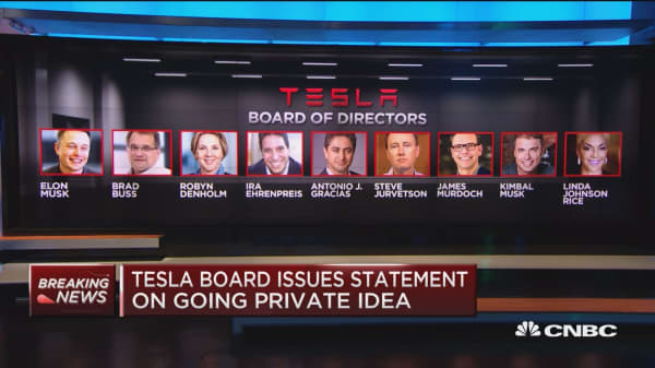 Tesla board evaluating idea of going private