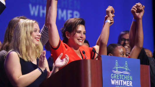 Michigan Democratic gubernatorial candidate Gretchen Whitmer addresses her supporters after winning the primary, Tuesday, Aug. 7, 2018, in Detroit.