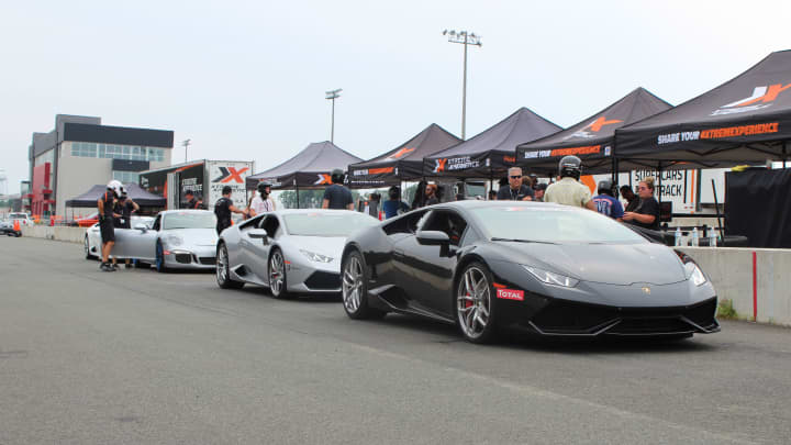 Super cars ready to hit the track.
