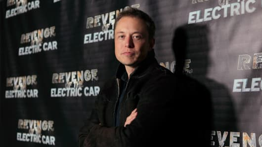 Tesla Motors CEO Elon Musk arrives at 'Revenge Of The Electric Car' Premiere held at Landmark Nuart Theatre on October 21, 2011 in Los Angeles, California.