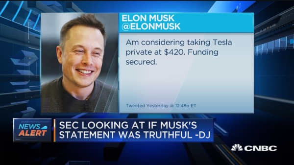 SEC has made inquiries on Musk's Tweet from Tuesday: Dow Jones