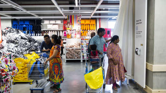 Customers at the Ikea store in Hitech City on the outskirts of Hyderabad, India, on August 9, 2018.