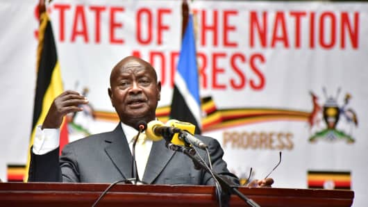 Ugandan President Yoweri Museveni delivers his state of the nation address in Kampala, Uganda, on June 6, 2018.