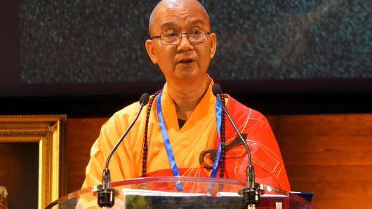 Venerable Master Xuecheng, abbot of the Beijing-based Longquan Temple and President of the Buddhist Association of China, speaks at the UNESCO (United Nations Educational, Scientific and Cultural Organization) Headquarters on September 26, 2017 in Paris, France.