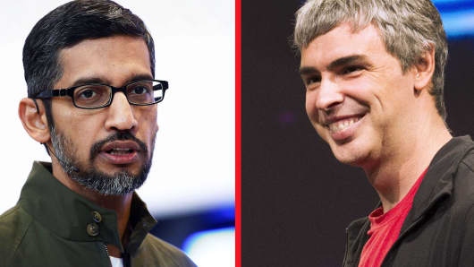 Google CEO Sundar Pichai and Alphabet CEO Larry Page