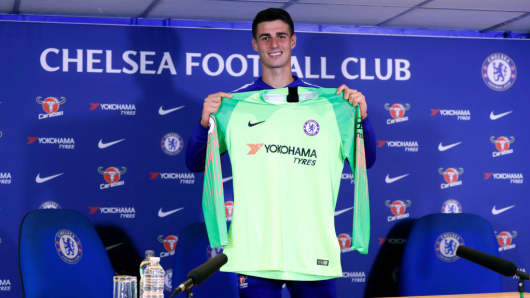 Chelsea unveil new signing Kepa Arrizabalaga at Stamford Bridge on August 9, 2018 in London, England.