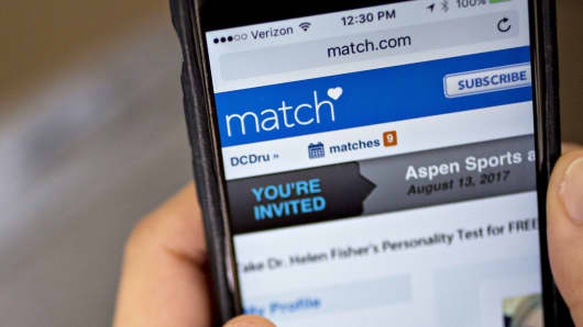 The Match.com website is shown on an Apple iPhone.