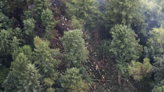 The site on Ketron Island in Washington state where an Horizon Air turboprop plane crashed Friday after it was stolen from Sea-Tac International Airport is seen from the air, Saturday, Aug. 11, 2018, near Steilacoom, Wash.