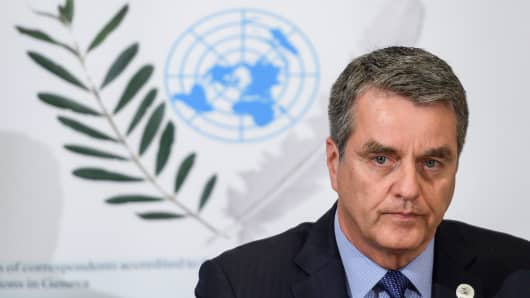 World Trade Organization director-general Roberto Azevedo holds press conference amid escalating US-China trade war, on July 25, 2018 in Geneva.