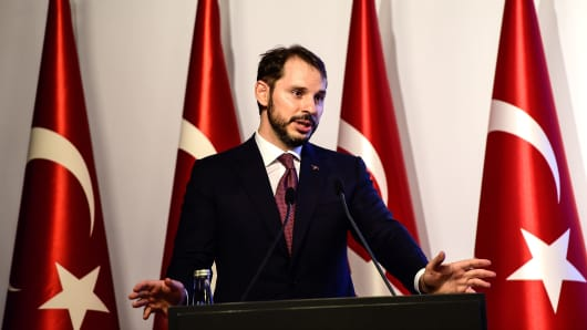 Turkish Treasury and Finance Minister Berat Albayrak speaks during a presentation to announce his economic policy in Istanbul, on August 10, 2018.