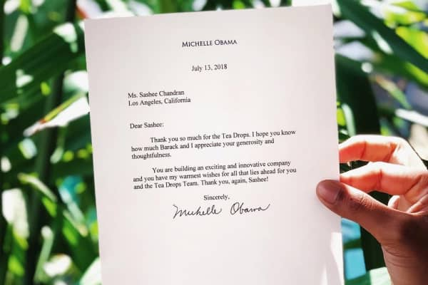 A letter sent to Tea Drops founder Sashee Chandran by former U.S. first lady Michelle Obama.