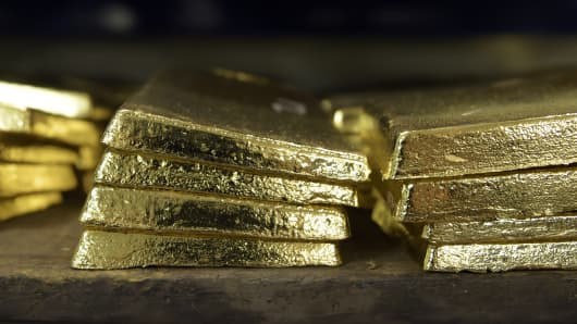 Gold anodes sit stacked in a vault at the Perth Mint Refinery, operated by Gold Corp., in Perth, Australia.