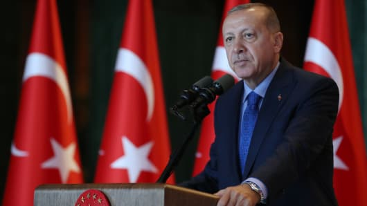President of Turkey Recep Tayyip Erdogan addresses during a luncheon for participants of 10th Ambassadors' Conference at Presidential Complex in Ankara, Turkey on August 13, 2018.