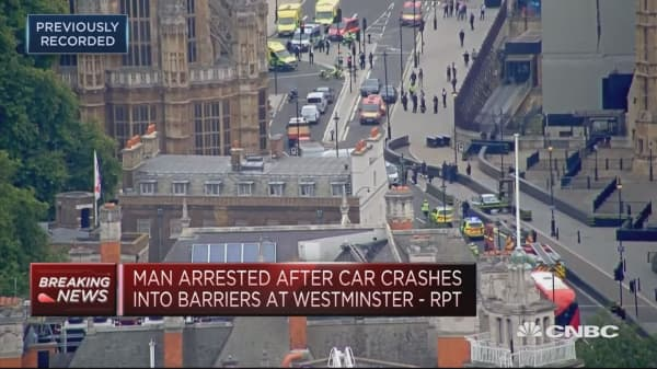 Man detained by police after car crash near UK parliament