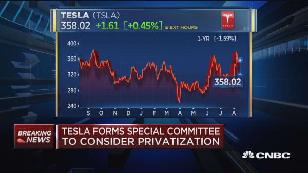 Tesla forms special committee to consider privatization