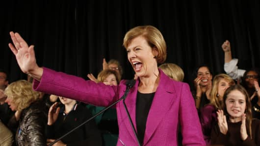 U.S. Senate candidate U.S. Rep. Tammy Baldwin (D-WI) celebrates her victory over Republican candidate Tommy Thompson as she enters the stage on election night on November 6, 2012 in Madison, Wisconsin.