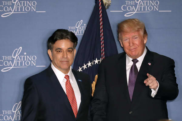 President Donald Trump with Latino Coalition Chairman Hector Barreto during the organization's legislative summit in March, the first time Trump addressed the organization of conservative Latino business owners. Barreto headed the Small Business Administration under George W. Bush.