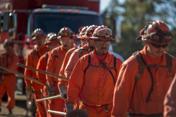Prisoners at Oak Glen Conservation Camp line up for work deployment under under the authority of Cal Fire.