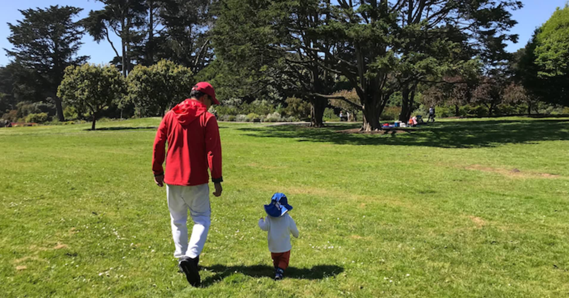 Sam Dogen and his son play in Golden Gate Park, San Fancisco.