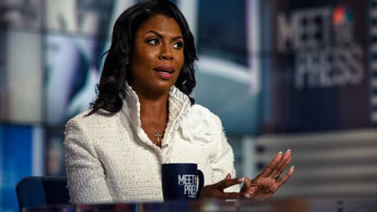 Omarosa Manigault Newman, Former Assistant to President Donald Trump and Director of Communications for the White House Office of Public Liaison; Author, Unhinged: An Insider's Account of the Trump White House appears in an exclusive interview on 'Meet the Press' in Washington, D.C., Sunday, August 12, 2018.  (Photo by: William B. Plowman/NBC/NBC NewsWire via Getty Images)