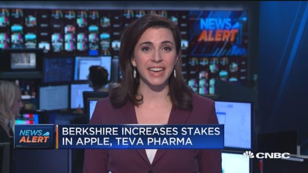 Berkshire Hathaway increases stakes in Apple, Teva Pharma, US Bancorp, Goldman Sachs