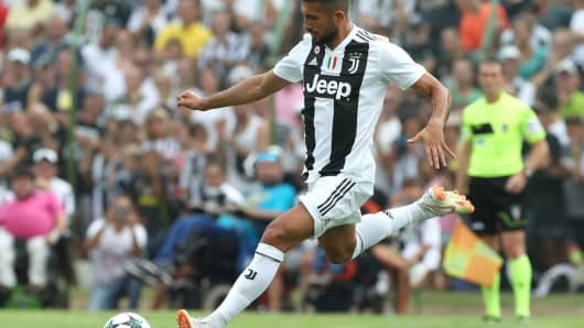 Emre Can of Juventus in action during a pre-season friendly match.