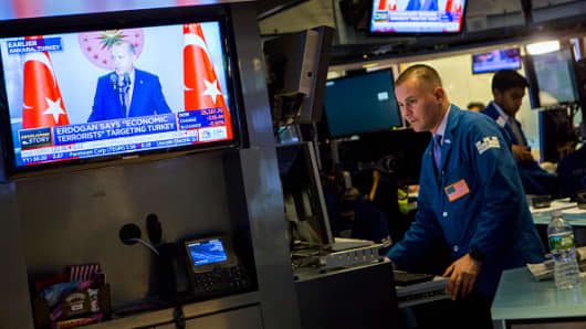 Traders work on the floor of the New York Stock Exchange (NYSE) on August 13, 2018 in New York City. The Turkish lira hit a record low on Monday, rattling global currency markets and falling 8 percent against the dollar.