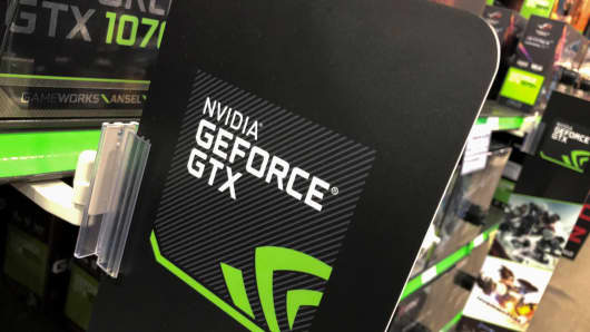 NVIDIA computer graphic cards are shown for sale at a retail store in San Marcos, California.