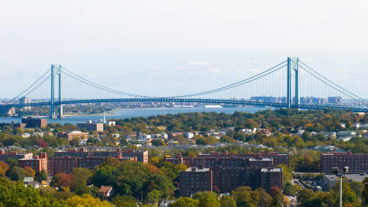 A view of the Verrazano Narrows Bridge from Staten Island.