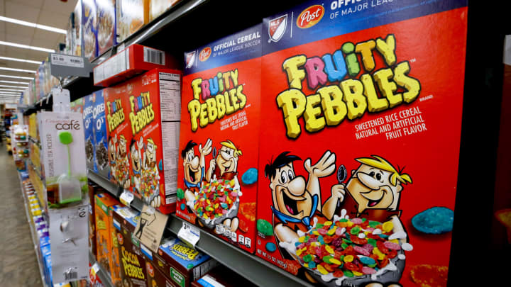 Boxes of Post Fruity Pebbles cereal sit on display in a market in Pittsburgh, Wednesday, Aug. 8, 2018.