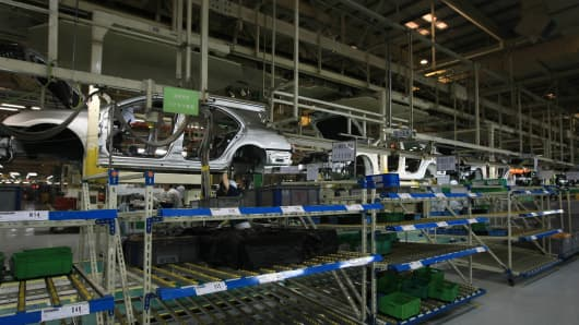 A Toyota car assembly manufacturing line at Tianjin FAW Toyota Factory in Tianjin, China.