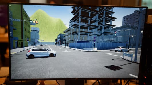 A screen showing the Atlas simulation environment developed by Ascent Robotics which is trying to  create self-driving automobiles capable of handling any real-life driving scenarios.