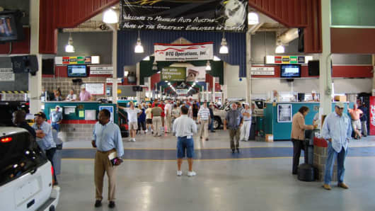 A view of the auction lanes at Manheim Pennsylvania