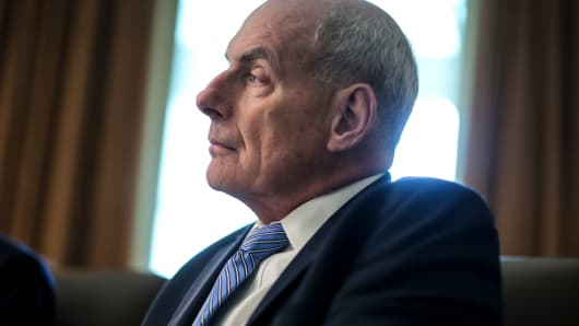 White House Chief of Staff John Kelly attends a Cabinet Meeting in the Cabinet Room of the White House on August 16, 2018 in Washington, DC.