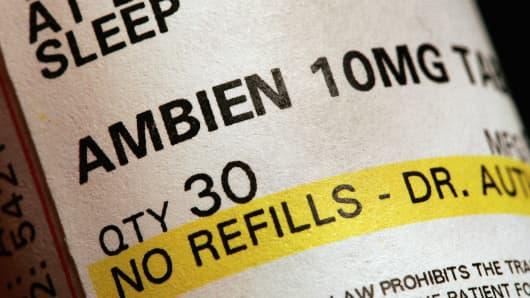 A prescription of bottle of Ambien.