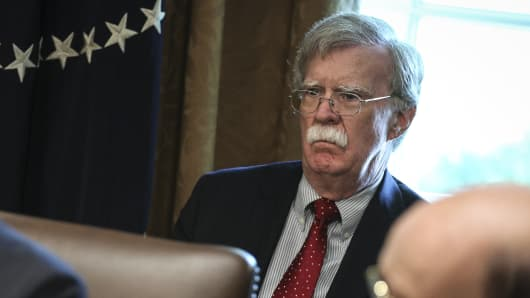 White House National Security Advisor John Bolton attends a Cabinet Meeting in the Cabinet Room of the White House on August 16, 2018 in Washington, DC.