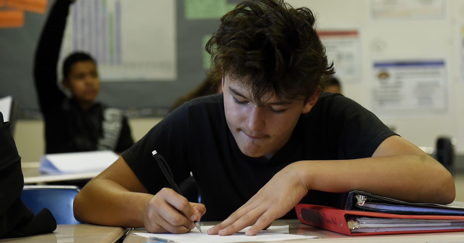 Eighth grade algebra class at Vikan Middle School in Brighton, Colorado