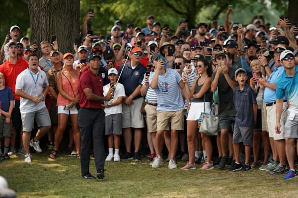 Tiger Woods plays at the 2018 PGA Championship at Bellerive Country Club on August 12, 2018 in St Louis, Missouri.