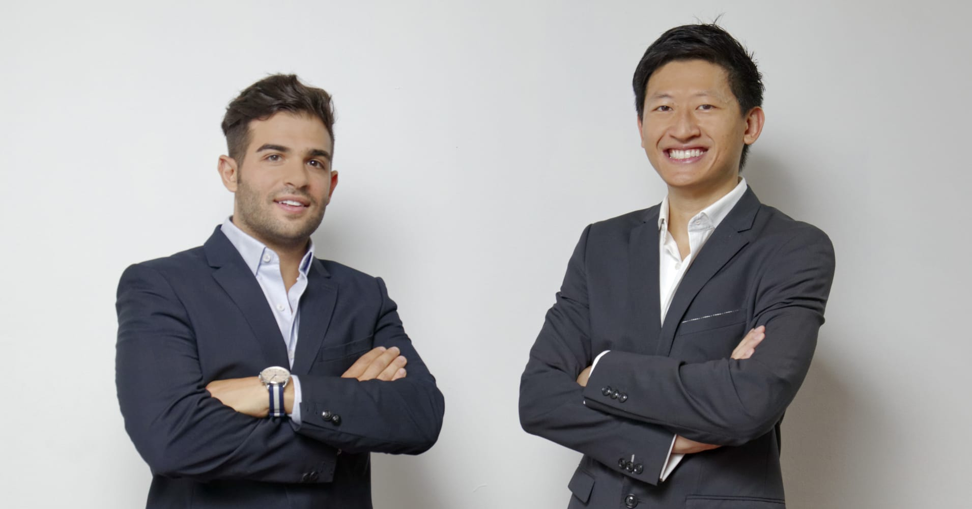 Rob Pachter, left, and Jeffrey Liu, right, co-founders of fitness platform GuavaPass