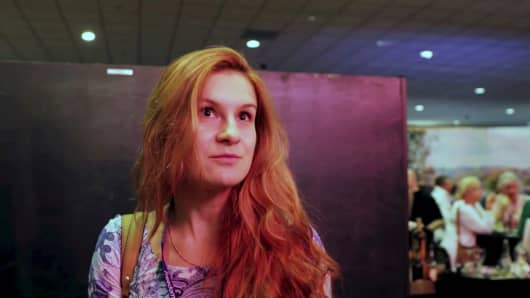 Accused Russian agent Maria Butina speaks to camera at 2015 FreedomFest conference in Las Vegas, Nevada, U.S.
