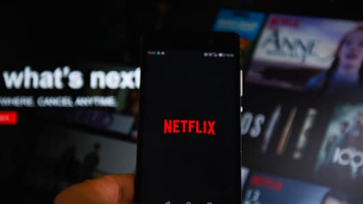 The Netflix logo as seen on a smartphone